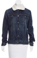 Adriano Goldschmied Shearling-Trimmed Denim Jacket w/ Tags
