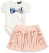 Toddler Girl's Bardot Junior Bow Top & Pleated Skirt Set