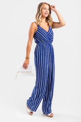 francesca's Lanna Striped Surplice Jumpsuit - Blue