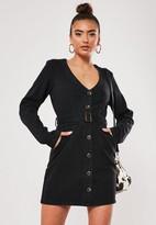 Missguided Black Long Sleeve Belted Plunge Denim Dress