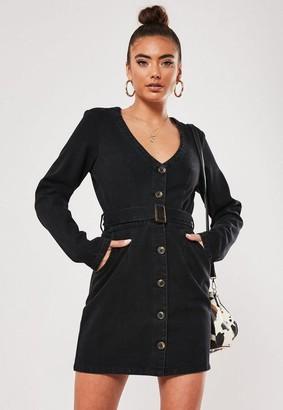 Missguided Long Sleeve Belted Plunge Denim Dress