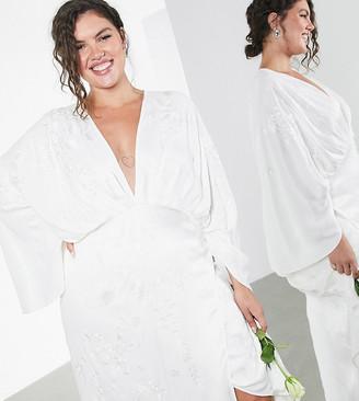 ASOS EDITION Curve embroidered satin kimono wedding dress