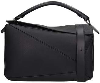 Loewe Bolso Puzzle Tote In Black Leather