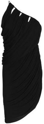 Halston One-shoulder Cutout Ruched Jersey Mini Dress
