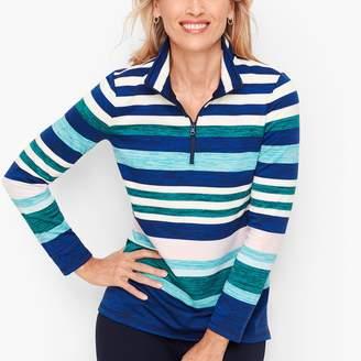 Talbots Multicolor Stripe Half Zip Pullover