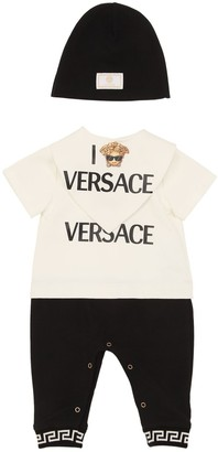 Versace Printed Cotton Romper, Bib & Hat
