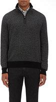 Luciano Barbera Men's Herringbone Cashmere Sweater-BLACK