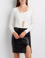 Charlotte Russe Ponte Asymmetrical Cut-Out Bodysuit