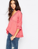 Pepe Jeans Smock Top with Embroidered Neck