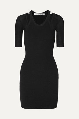Alexander Wang Layered Ribbed Stretch-knit Mini Dress - Black