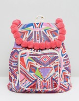Asos BEACH Backpack With Poms