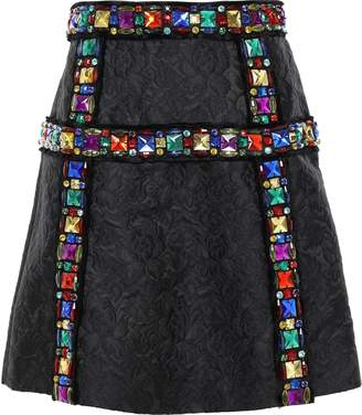 Dolce & Gabbana Embellished Matelasse Mini Skirt