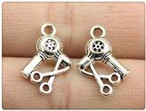 Nobrand No brand 6pcs 13*11mm antique silver color Desk scissors charms