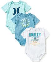 Hurley Baby Boys Newborn-12 Months Bodysuit Three-Pack