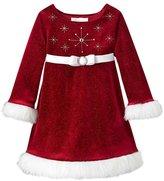 Bonnie Jean Bonnie Baby Girls Beaded Santa Christmas Dress 3-6 months