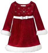 Bonnie Jean Little Girls' Beaded Santa Christmas Dress