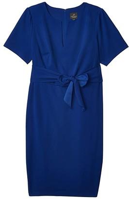 Adrianna Papell Plus Size Knit Crepe Tie Sheath Dress (Violet Blue) Women's Dress