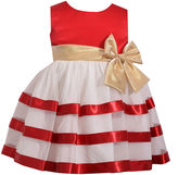 Bonnie Jean Sleeveless Ribbon Dress with Bow Dress - Baby Girls
