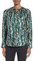 BOSS Banora Print Stretch Silk Blouse (Regular & Petite)