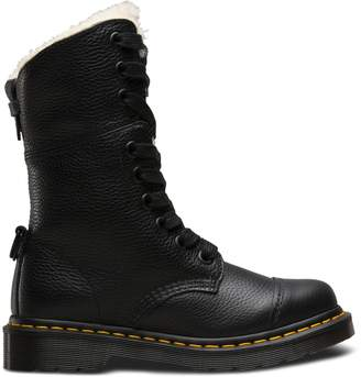 Dr. Martens Aimilita Leather Mid-Calf Boots with Faux Fur Lining