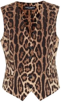 Dolce & Gabbana Leopard-print wool-blend crepe vest