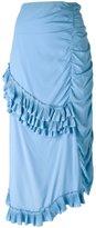 Marni ruched ruffled skrt - women - Silk/Acetate - 40