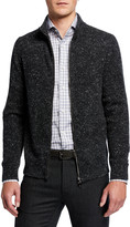 Isaia Men's Donegal Knit Zip-Front Sweater