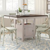 Adalgar Counter Height Drop Leaf Solid Wood Dining Table August Grove Color: Mocha/Walnut