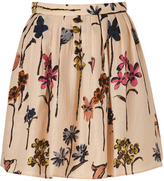 Moschino Cheap & Chic Beige Wool-Silk Floral Print Skirt