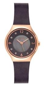 Bering Women's Solar Powered Brown Stainless Steel Mesh Bracelet Watch 27mm