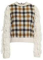 Sea Frayed Jacquard-Knit Sweater