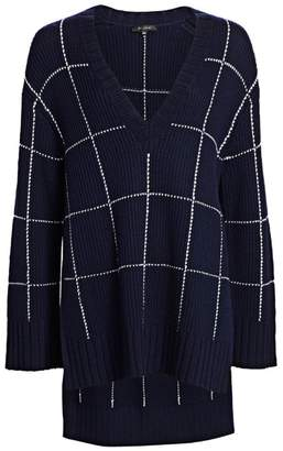 St. John Windowpane Knit High-Low V-Neck Sweater