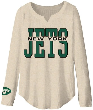 Women's Junk Food Oatmeal New York Jets Sunday Tri-Blend Thermal Long Sleeve T-Shirt