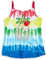 Flapdoodles Girls 2-6x Girls Tie-Dye Pineapple Tank0500087056518