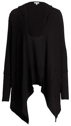 Splendid Hooded Draped Thermal Cardigan