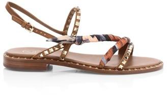 Ash Pasha Studded Leather Slingback Sandals