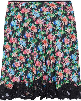 Paco Rabanne Lace-trimmed Floral-print Crepe De Chine Mini Skirt