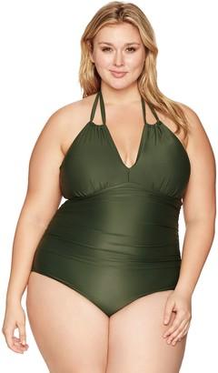 Coastal Blue Women's Plus Size Swimwear Halter Neck Cutout-Front One Piece Swimsuit
