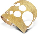 Stefano Patriarchi Golden Silver Etched Cut Out Tall Cuff Bracelet