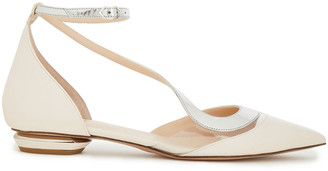 Nicholas Kirkwood Pvc-trimmed Mirrored And Smooth Leather Flats