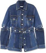 Alexander McQueen Layered Denim Peplum Jacket - Blue