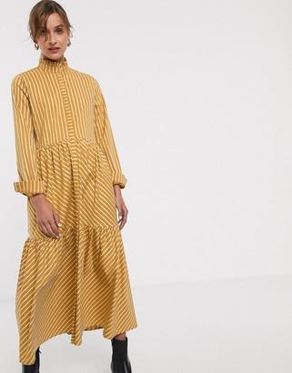 Gestuz Bethany stripe tiered maxi dress-Yellow