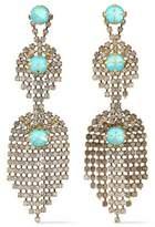 Elizabeth Cole Gunmetal-Tone Crystal And Stone Earrings