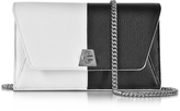 Akris Anouk Black & White Pebbled Leather Clutch w/Chain