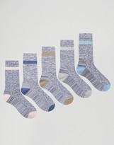 Asos Tube Style Socks In Random Feed Yarn 5 Pack