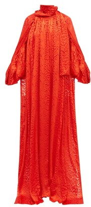 Balenciaga Leopard Devore Front Slit Long Satin Blouse - Womens - Red