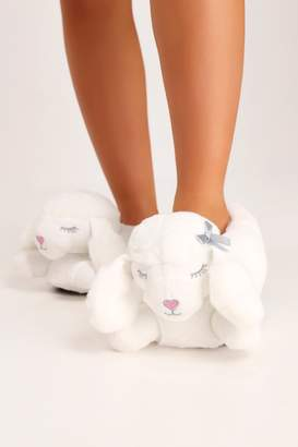 I SAW IT FIRST White Poodle Novelty Slippers