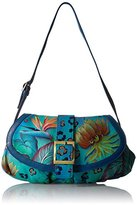 Anuschka Hand Painted Small Ruched Flap Handbag Shoulder Bag
