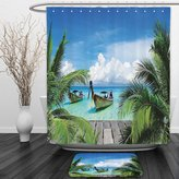 Vipsung Shower Curtain And Ground MatTropical Decor Collection Beach and Tropical Sea Wooden Deck Floating Boats Sunshine Honeypot Picture Print Blue Green GrayShower Curtain Set with Bath Mats Rugs