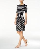 Connected Draped Printed Sheath Dress